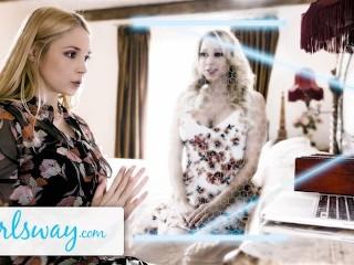 GIRLSWAY Hot MILF Sarah Vandella Reaches Her Stepmom Katie Morgan For Some Scissoring Nostalgia vo5