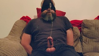 Daddy Tied Up With Vibrator On Cock