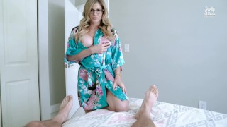 Screen Capture of Video Titled: Step Mom Catches Me Jerking off to Porn and Takes over - Cory Chase