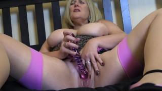 Mature Big Tit Step Mom Fucks herself with hard Glass Dildo