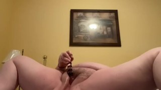 BBW fucking hairy pussy with glass dildo
