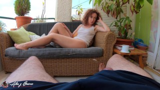 Quickly and stealthy public on balcony with my husband's best friend - POV Alis y Bruno 4k