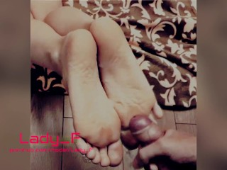 Mistress allowed to cum on her divine soles and toes, russian feet joi