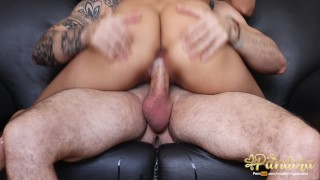 I sat on his big cock and he filled my pussy with cum
