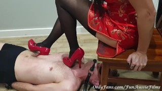 Superior Asian Tortures White Slave With Heels