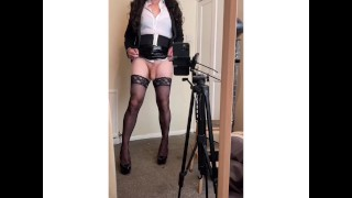 Classy office girl flashes her cock
