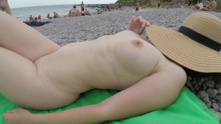 Public Exhiibitions amateur bebe - hot sexy lady at Nude Beach - she is wearing only a hat!