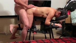"""Beautiful tight pussy gets 12"""" surprise while tied to table"""