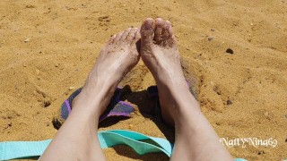 Sexy Latina's Feet at the Beach   Come Suck on These Toes For Me Baby