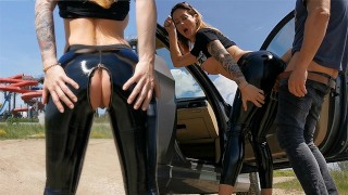 Amateur couple love fucking outdoor after quarantine . Latex fetish. WetKelly