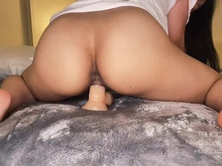 Sexy Asian Fans Star and Instagram Model Trucici Rides a Dildo and Does Resistance Role Play