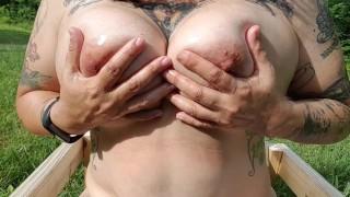 Thick 45yo Curvy Tattooed Milf Plays w Big Oiled Wet Natural Tits Large Nipples