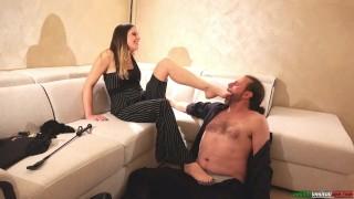 Femdom Foot Domination Mistress Seduces Slave Submission Sweaty Sock Sweaty Barefoot Worship