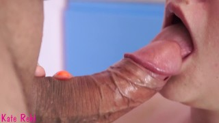 Cum in my mouth. Gentle, slow blowjob close-up. Pulsate cock and creampie