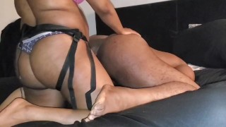 HOT EBONY STRETCHING HIS HAIRY BLACK HOLE WITH MY FAT LADY COCK