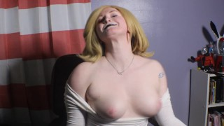 Petite Goth Blonde Pepper Bounces Tits for You