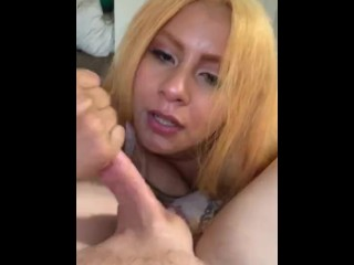 Latina wife sucks white husbands cock and swallows his cum