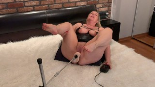 Horny Wife LOUD AND STRONG Orgasms on BIG Dildo!! - OMG! She Can't Stop!! - Fuck Machine Squirt
