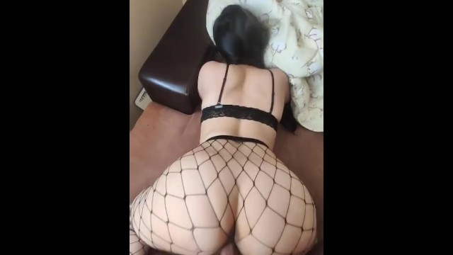 Brunette Fucked White Couch