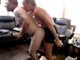 Amateur Couple – Pegging workout!  Riding my strap on!