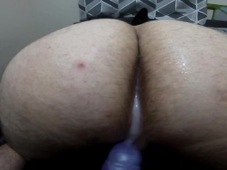 twink gets his arse filled with cum from bad dragon strapon - squirting pegging porn - pov creampie