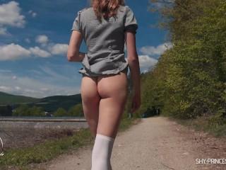 Teen schoolgirl flashing her ass and pussy public. No panties upskirt 4K