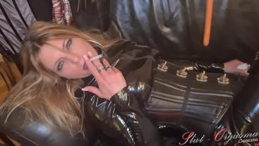 Slut-Orgasma Celeste smoking in sexy latex and leather extreme platform boots