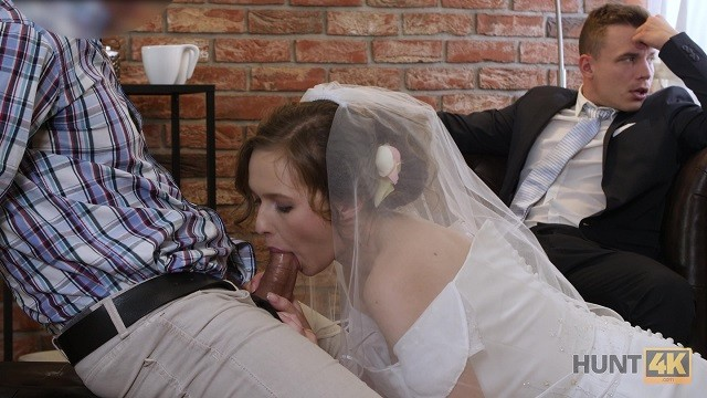 HUNT4K. Cute teen bride gets fucked for cash in front of her groom