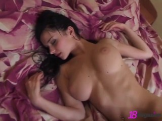 Gorgeous Big Boobed Katie Fey Teases In Bed Totally Naked!