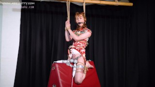 AB026 Mistress training slave Abby kitty with wooden device bondage in anal plug cumshot,BDSM