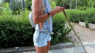 Sexy jeans Shorts Side boob and Nip slip during pitbull walk in the city