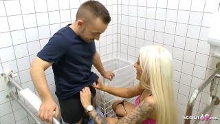Freaky Midget Dwarf Fuck Sexy German Teen Tight Tini on Public Toilet
