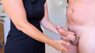 Step Mom Jerks Off Step Son (Before Work)