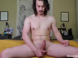 Cam Boy Plays with His Hard Cock and Cums (Feet Play) - Alessandro Montero