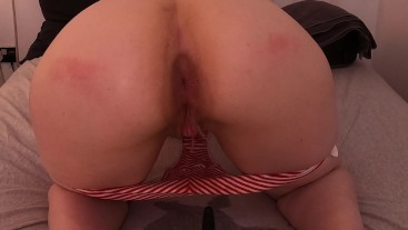 buttplug spank piss from behind