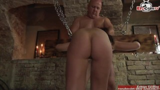 Clip German fetish sex with submissive young brunette slut in the pillory