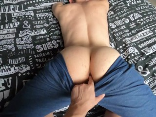 Perfect Juicy Bum Twink Inserts A Big Fat Dick Bareback And Starts Moaning: Sexy Orgasmic End