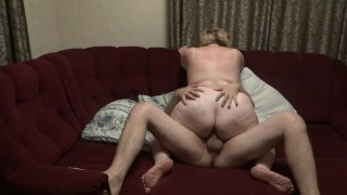 Pawg mom rides on cock
