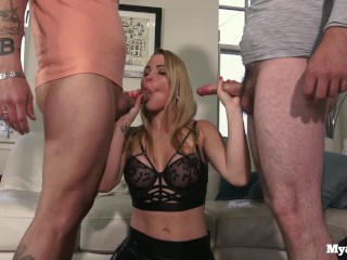 Threesome with my boyfriend and his friend getting fucked and cum all over my face - Mya Quinn
