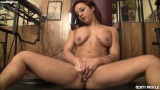 Beautiful Naked Female Bodybuilder Masturbates Her Swollen Clit