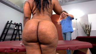 Big Ass Ebony Ms London Sucks And Fucks White Cock After Massage