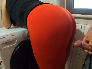 Step Mom in leggings teases and lets her Stepson touch, rub and cumshot on ass (over pants)1