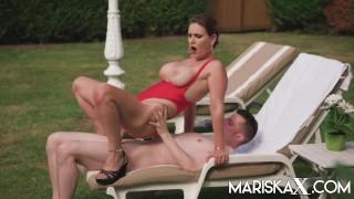 MARISKAX Busty MILF Sandy Lou gets fucked outside