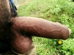 Indian masturbation with big cock in outdoor