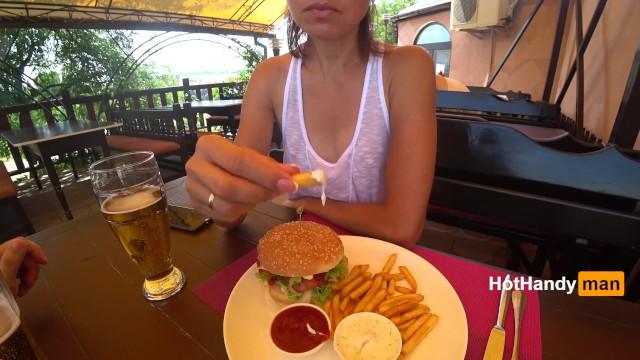 Eating burger and flashing in the cafe Transparent T-shirt No Bra (teaser) v2