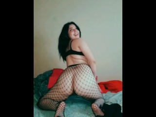 Skinny boyfriend fucking his thick latina girlfriend in ripped fishnet tights