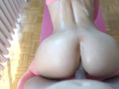 Fit girl with perfect ass in yoga pants fucked after nice workout