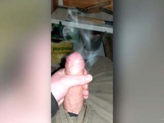 The air was so cold in the shed and my cock was so hot it gave off steam - wanking with precum