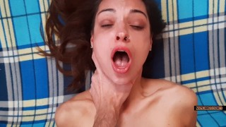 Fucking my wife's friend hard and cumming deep in the throat while she is in the shower