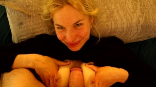 Screen Capture of Video Titled: She wants my cum all over her face! Sloppy blowjob shaking orgasm